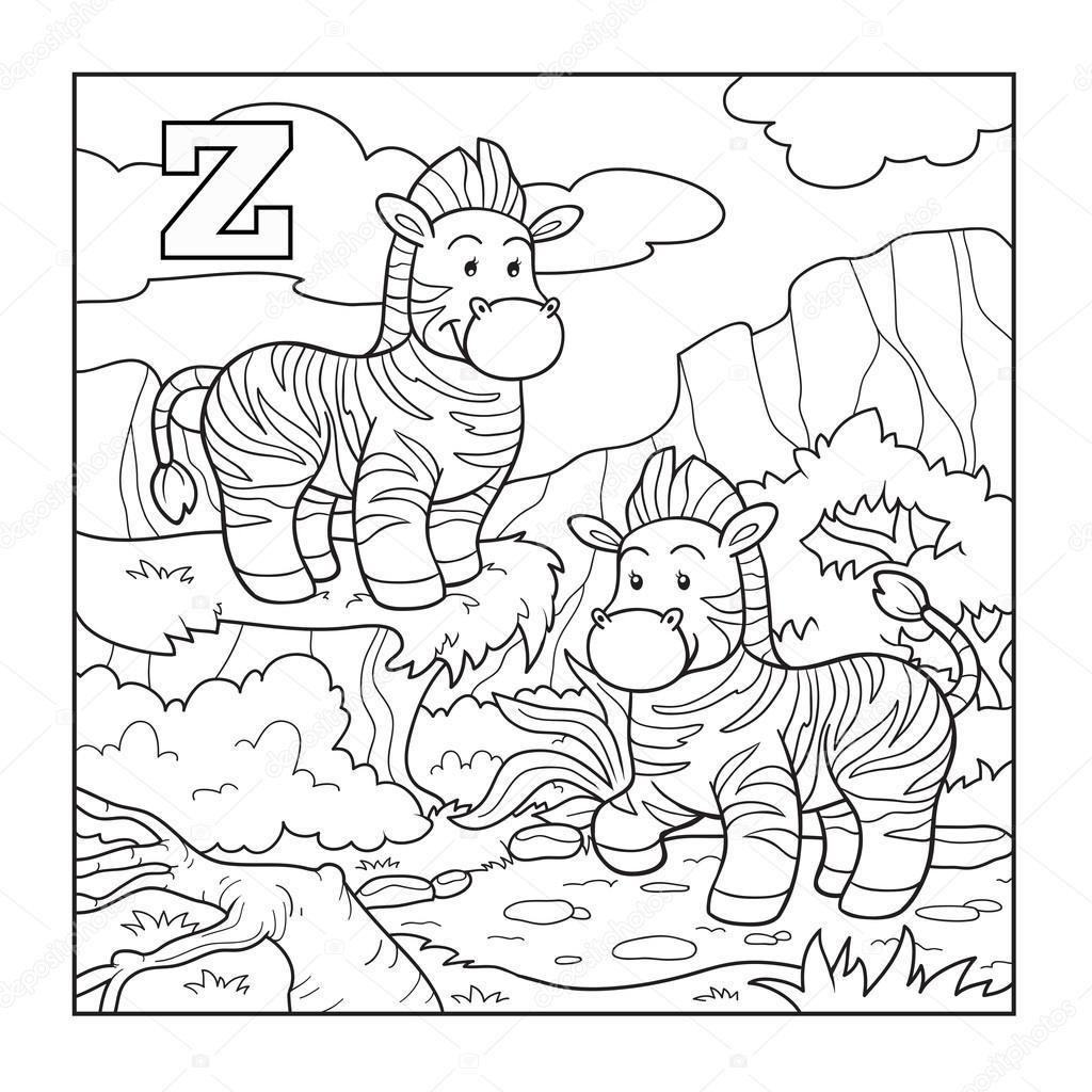 Coloring book (zebra), colorless alphabet for children ...