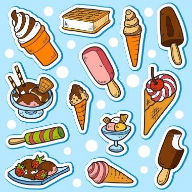 Set of vector stickers (ice cream)