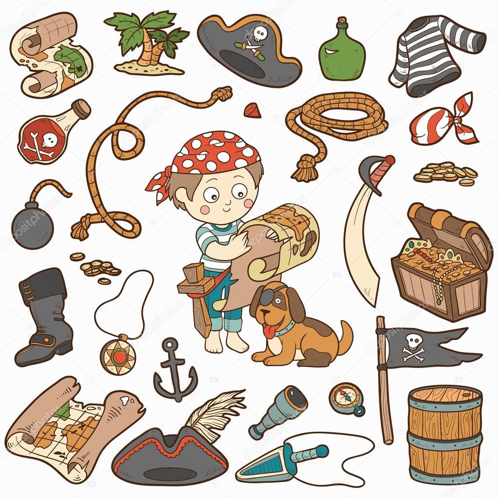 Vector conjunto de artículos pirata, colección de dibujos animados ...