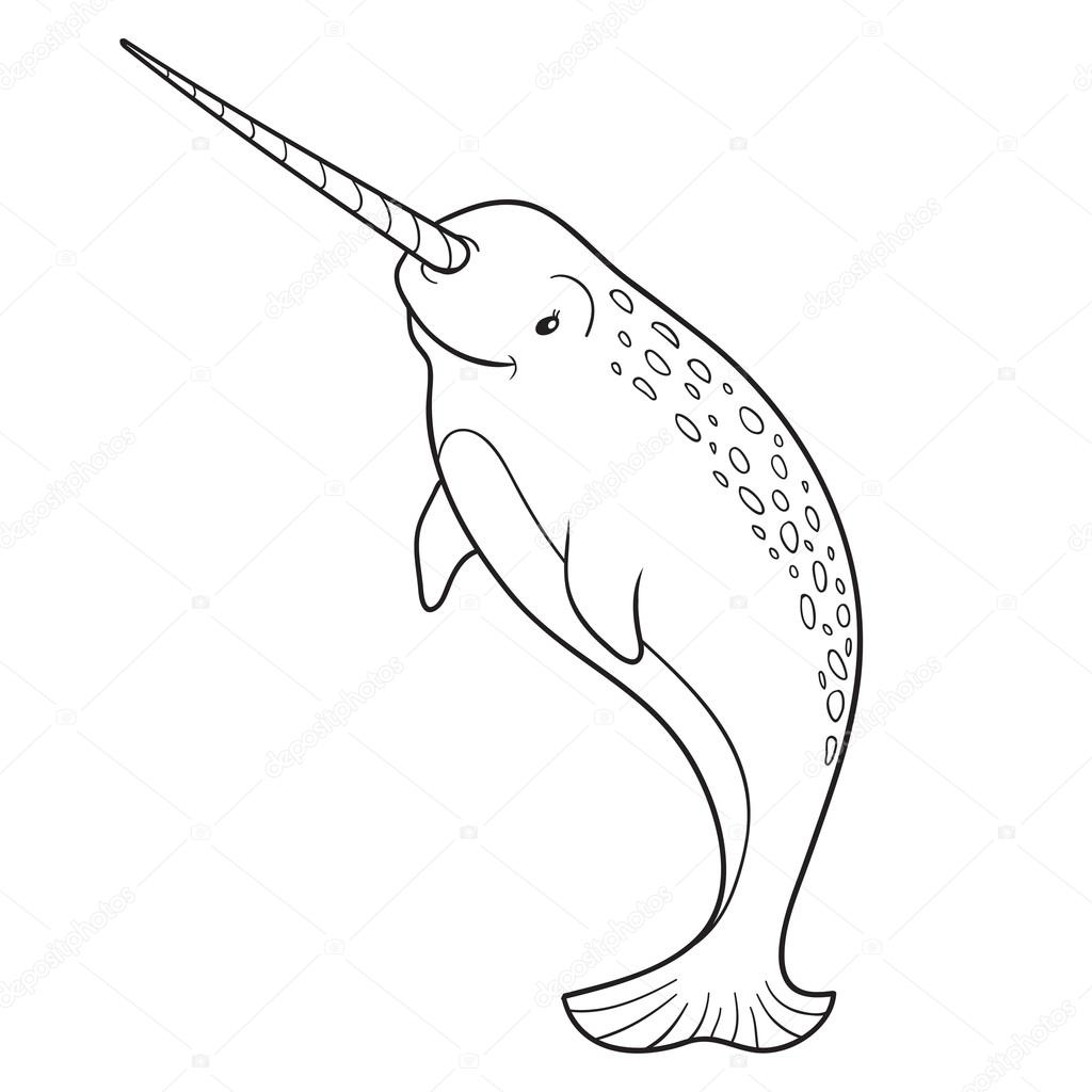 - Narwhal Coloring Book Coloring Book (narwhal) — Stock Vector