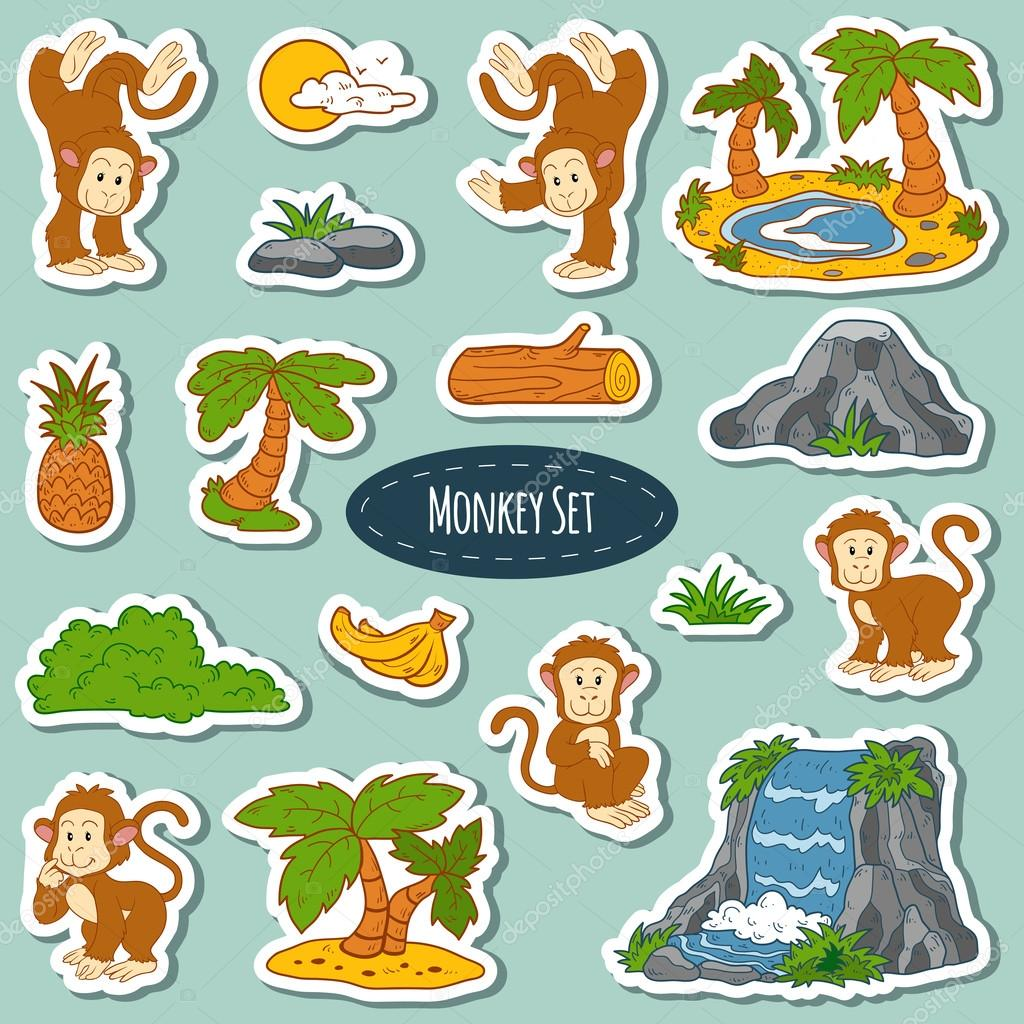 Set of various cute monkey, vector stickers of animals and items