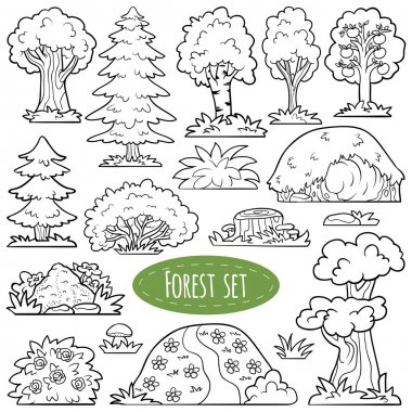 Colorless vector set of forest items