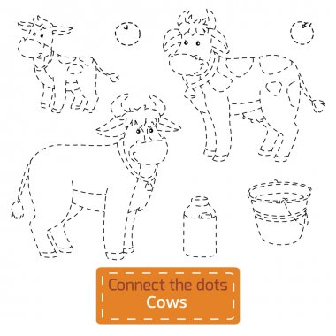Connect the dots (farm animals set, cow family)