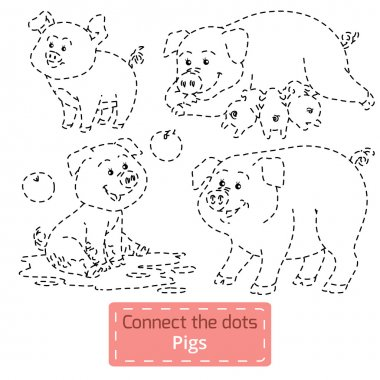 Connect the dots (farm animals set, pig family)