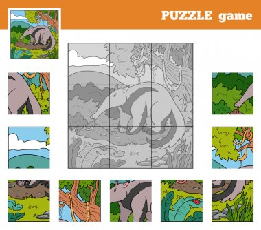 Puzzle Game for children with animals (anteater)