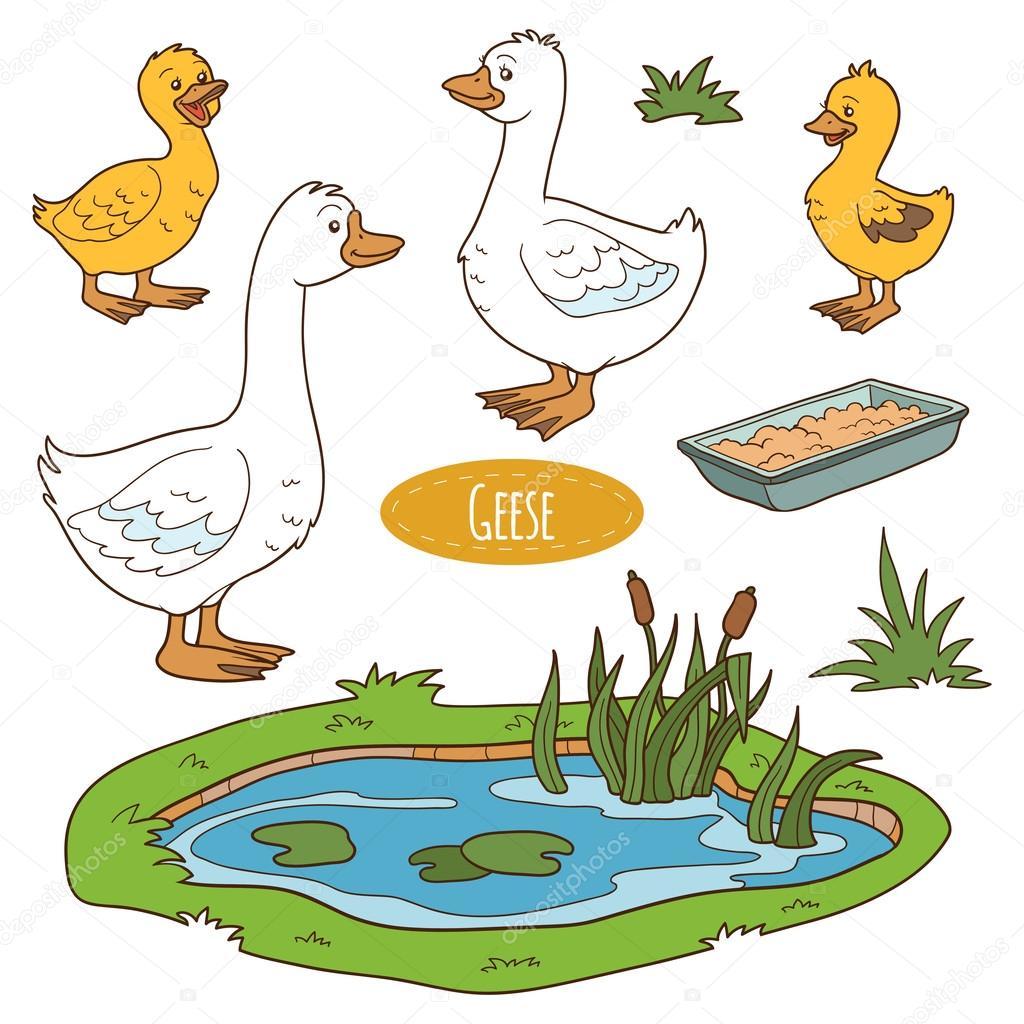 Цветной набор милых сельскохозяйственных животных и ...