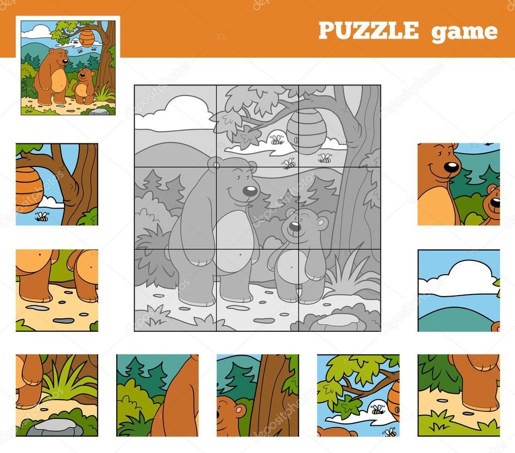 Puzzle Game for children with animals (bears)