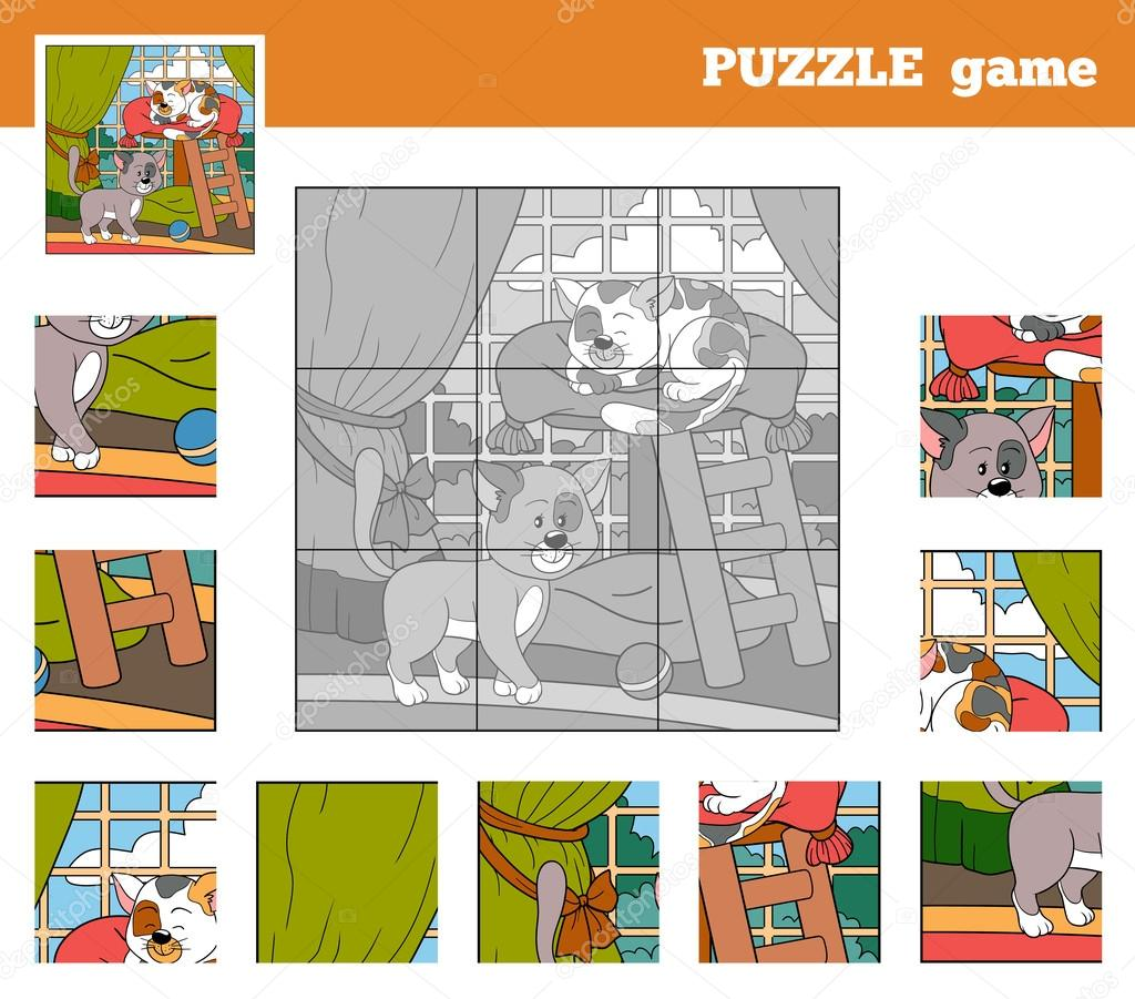 Puzzle Game for children with animals (cats)