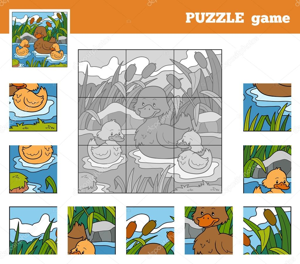 Puzzle Game for children with animals (ducks)