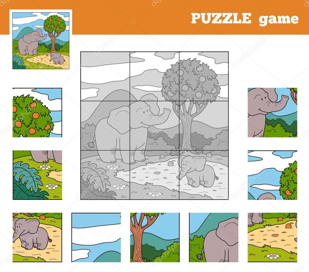 Puzzle Game for children with animals (elephant)