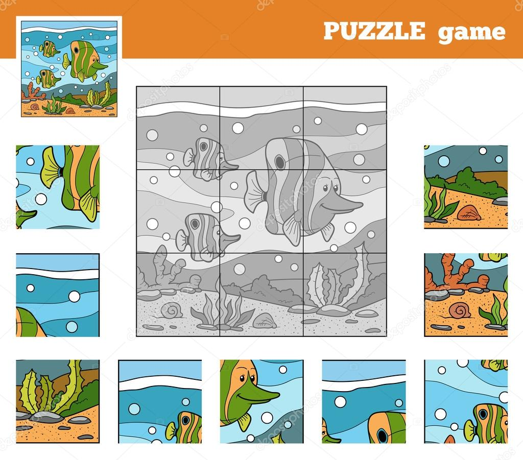 Puzzle Game for children with animals (fish family)