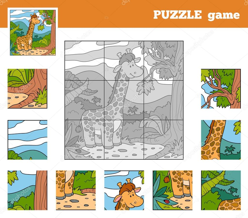 Puzzle Game for children with animals (giraffe)