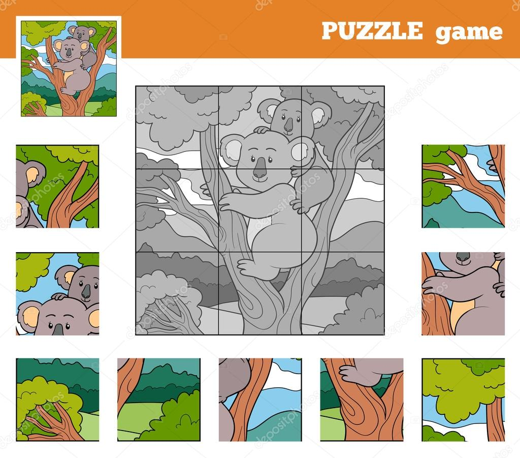 Puzzle Game for children with animals (koala)