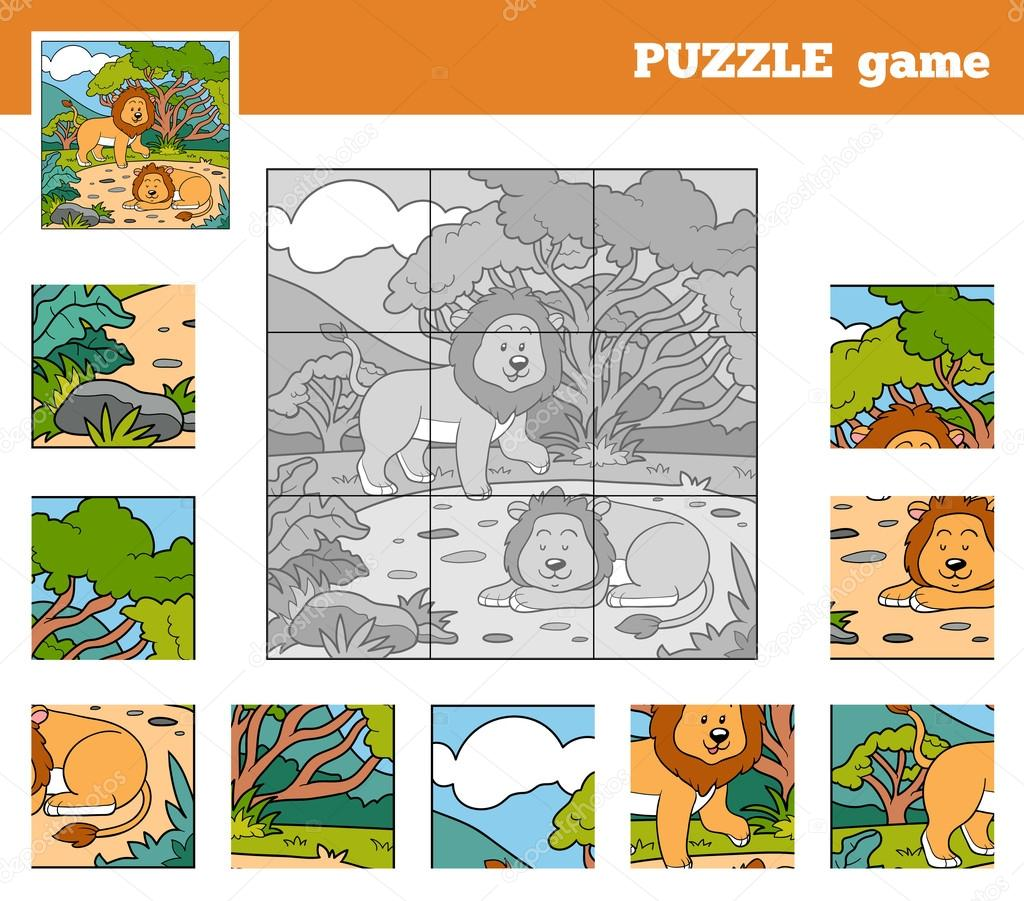 Puzzle Game for children with animals (lions)