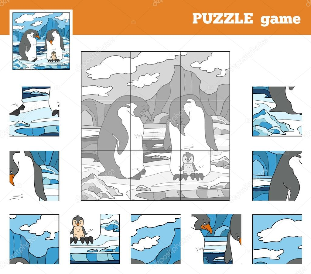 Puzzle Game for children with animals (penguin family)