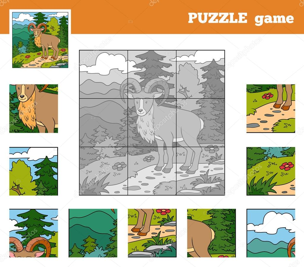 Puzzle Game for children with animals (urial)