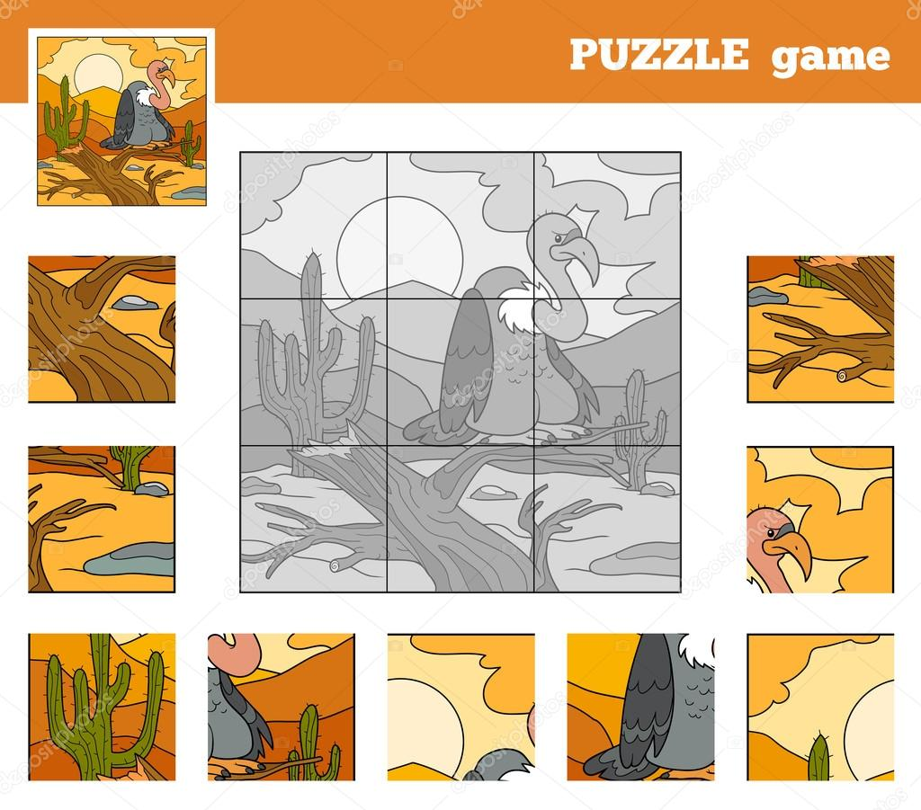Puzzle Game for children with animals (vulture)