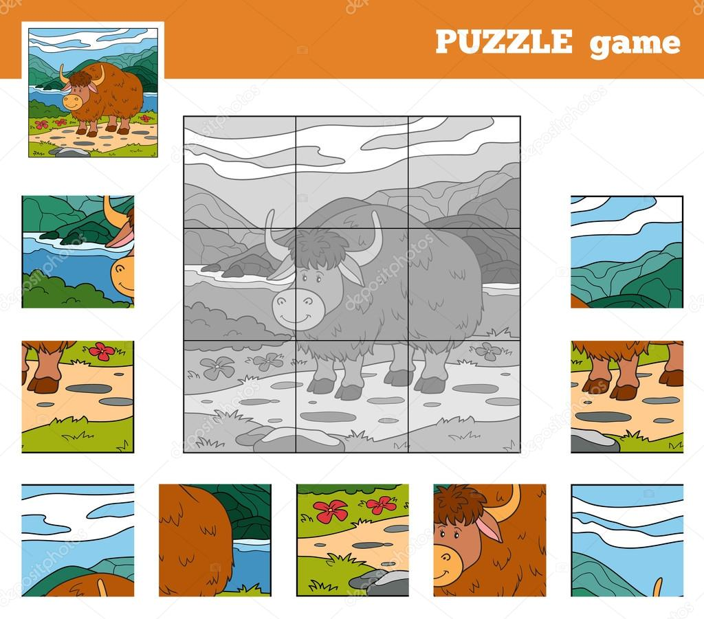 Puzzle Game for children with animals (yak)