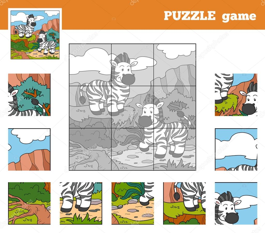 Puzzle Game for children with animals (zebra)