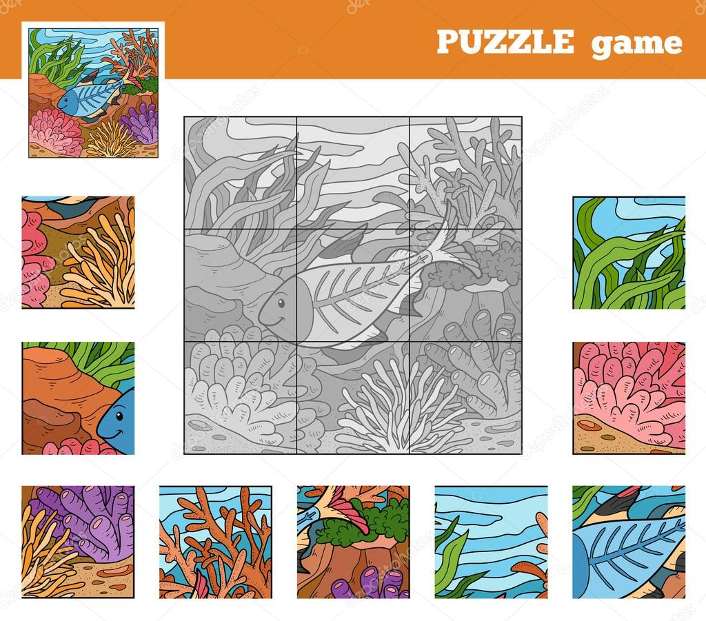 Puzzle Game for children with animals (x-ray fish)