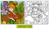 Fotografie Coloring book (little fairy with a basket of fruit)