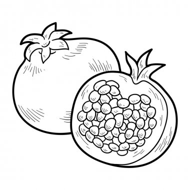 Coloring book: fruits and vegetables (pomegranate)