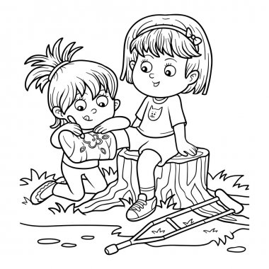 Coloring book (Two girls on the glade, Girl draws on the plaster