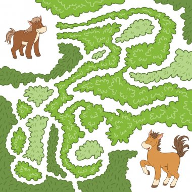Maze game: help the little horse to find the way to my mother