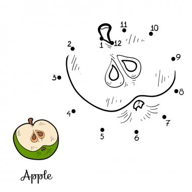 Numbers game: fruits and vegetables (apple)