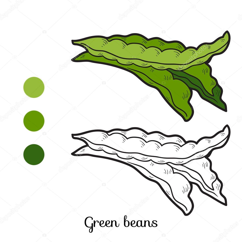 Coloring book: fruits and vegetables (green beans) — Vetor de Stock ...