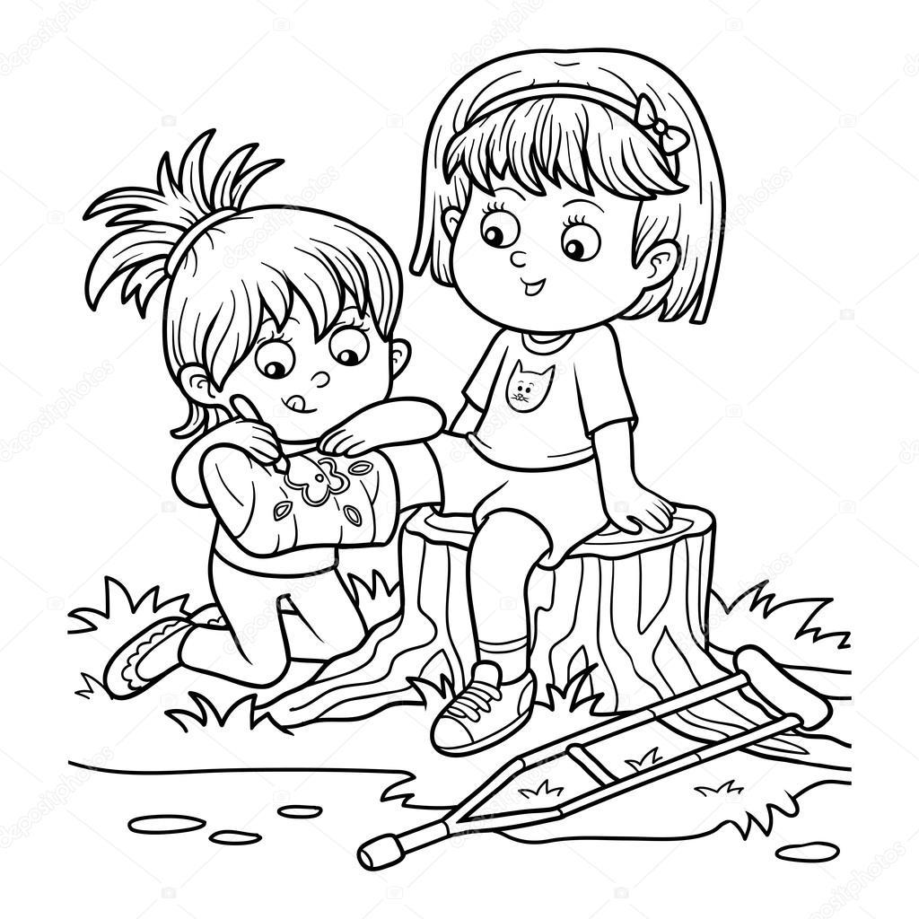 Раскраска (две девушки на поляне, девушка рисует на ...