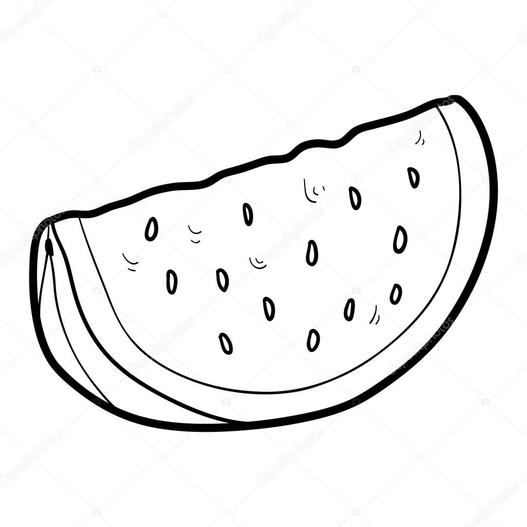 Coloring Book For Children Fruits And Vegetables Watermelon Vector By Ksenya Savva