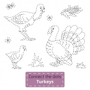 Connect the dots (farm animals set, turkey family)