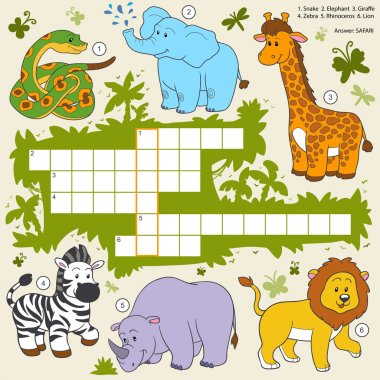 Vector color crossword, education game about safari animals