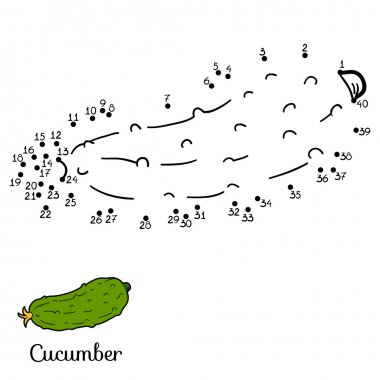 Numbers vector game: fruits and vegetables (cucumber)