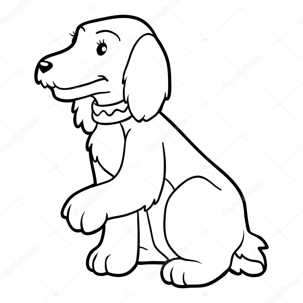 Раскраска для детей (спаниель собаки) — Векторное ...