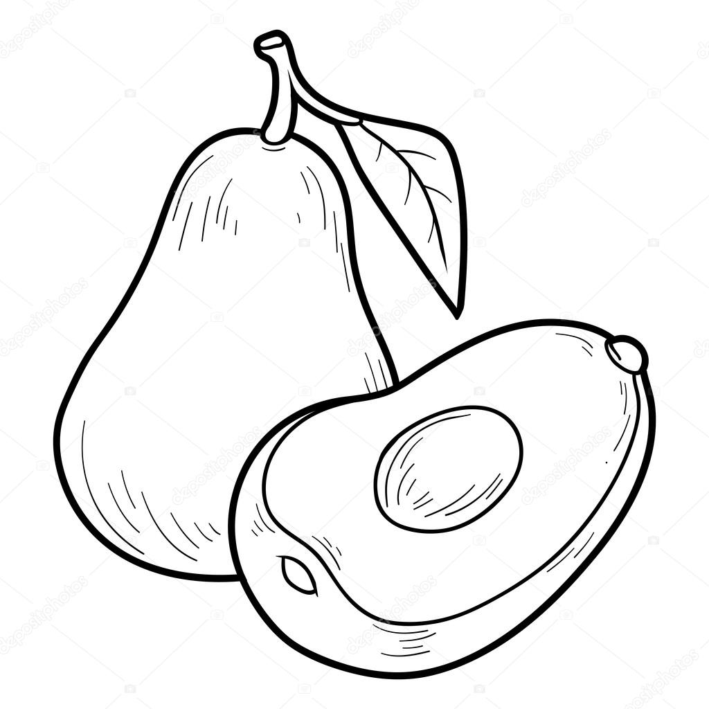 Coloring book game: fruits and vegetables (avocado)