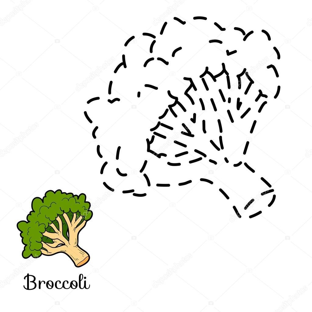 Connect the dots: fruits and vegetables (broccoli)