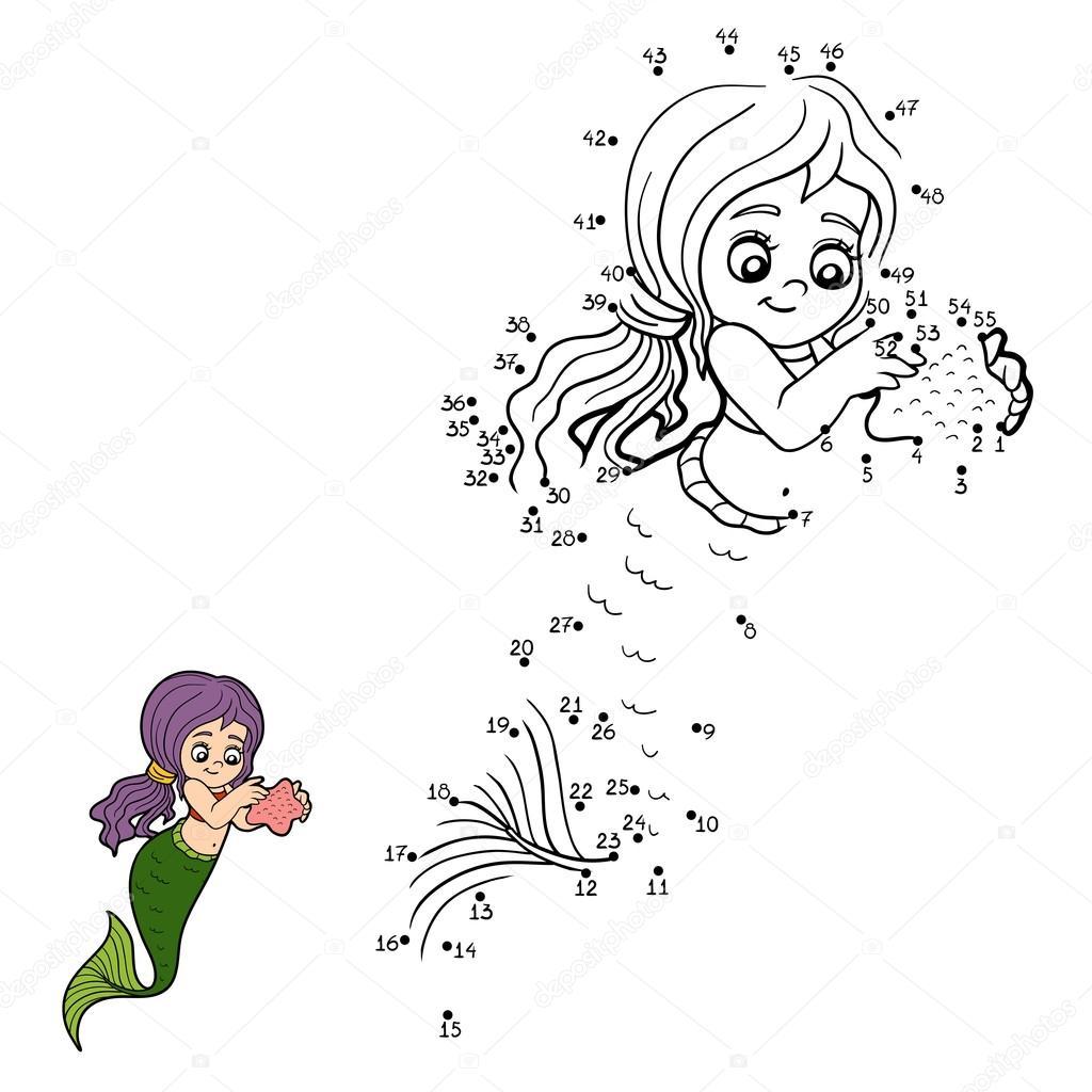 Игра вектор чисел (русалок) — Векторное изображение ...