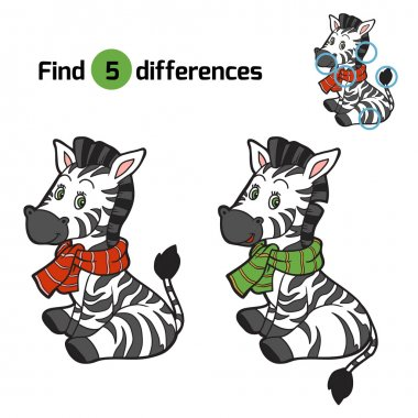Find differences: Christmas winter zebra. Game for children