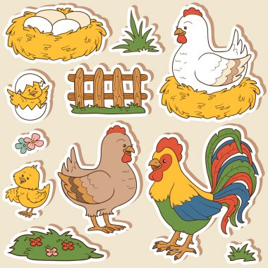 Color set of cute farm animals and objects, vector family chicke
