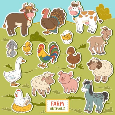 Colorful set of cute farm animals and objects, vector stickers w