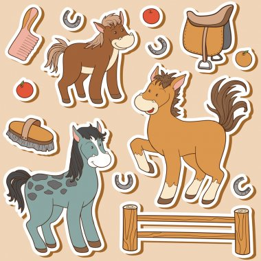 Color set of cute farm animals and objects, vector family horse