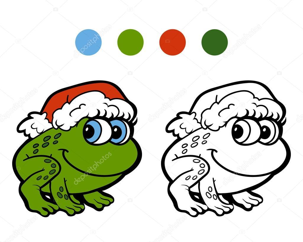 Malbuch: Weihnachts-Frosch. Spiel für Kinder — Stockvektor ...