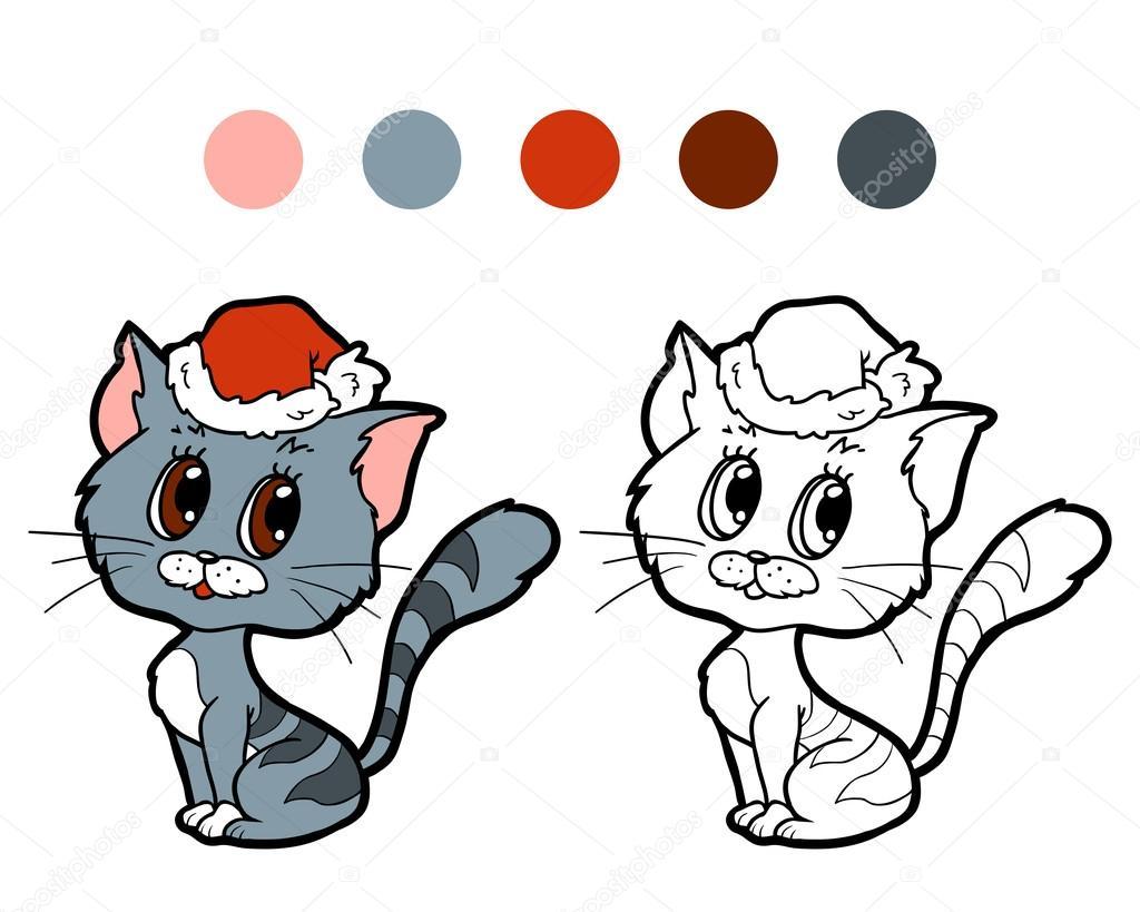 Boyama Kitabı Noel Kış Kedi çocuklar Için Oyun Stok Vektör