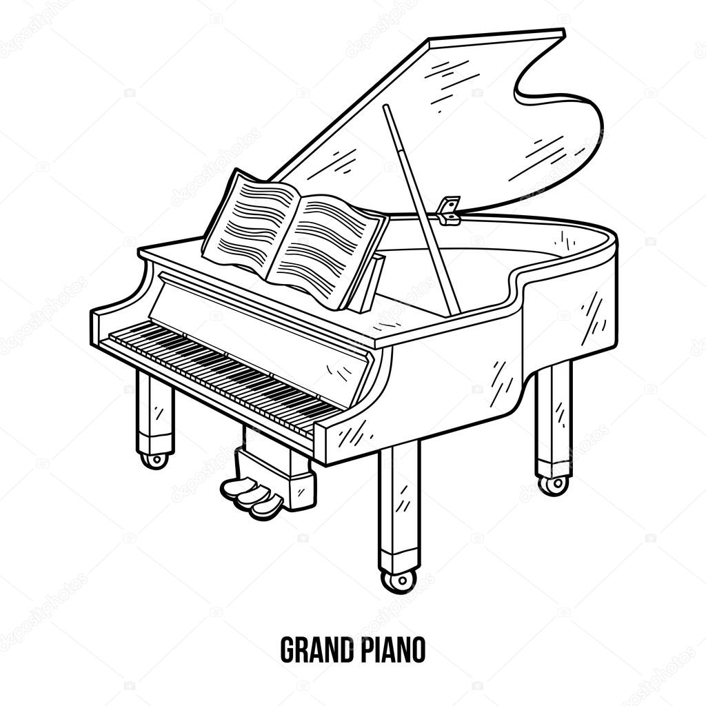 coloring book for children musical instruments grand piano