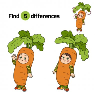 Find differences for children: Halloween characters (carrot cost