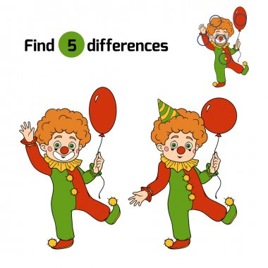 Find differences for children: Halloween characters (clown)