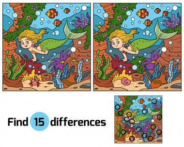 Game for children: find differences (little mermaid)