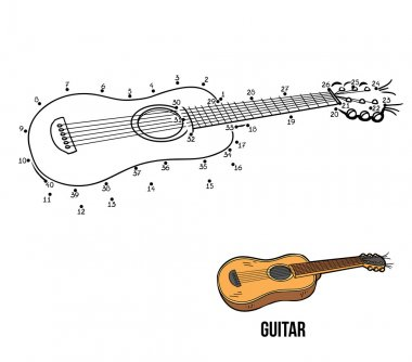 Numbers game for children: musical instruments (guitar)